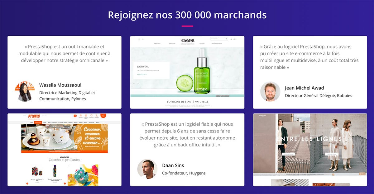 Prestashop propulse plus de 300 000 sites marchands, parmi lesquels Pylones, Danone, K-Way ou encore Carrefour Les Essentiels
