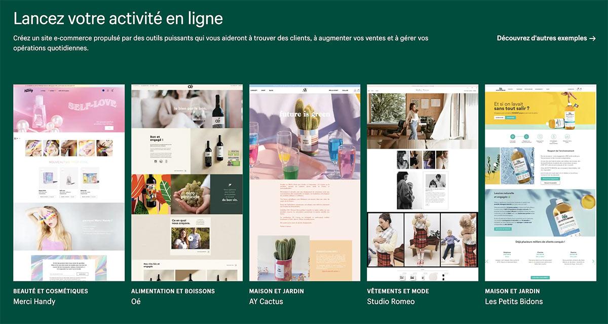 Shopify propose de nombreux templates adaptés aux différentes activités e-commerce : beauté, alimentation, maison, mode, etc.