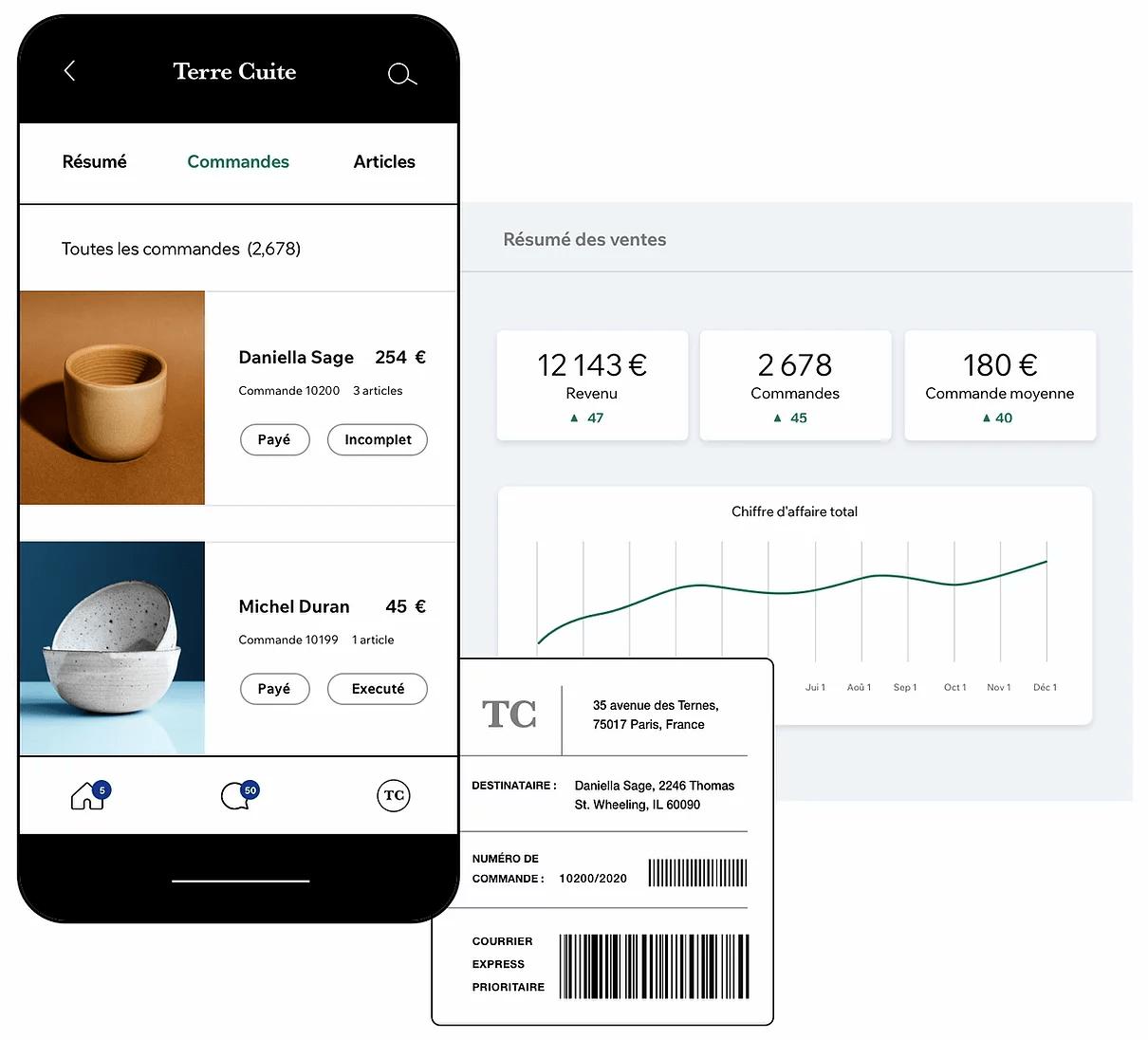 La solution ecommerce Wix intègre un tableau de bord complet pour gérer l'activité