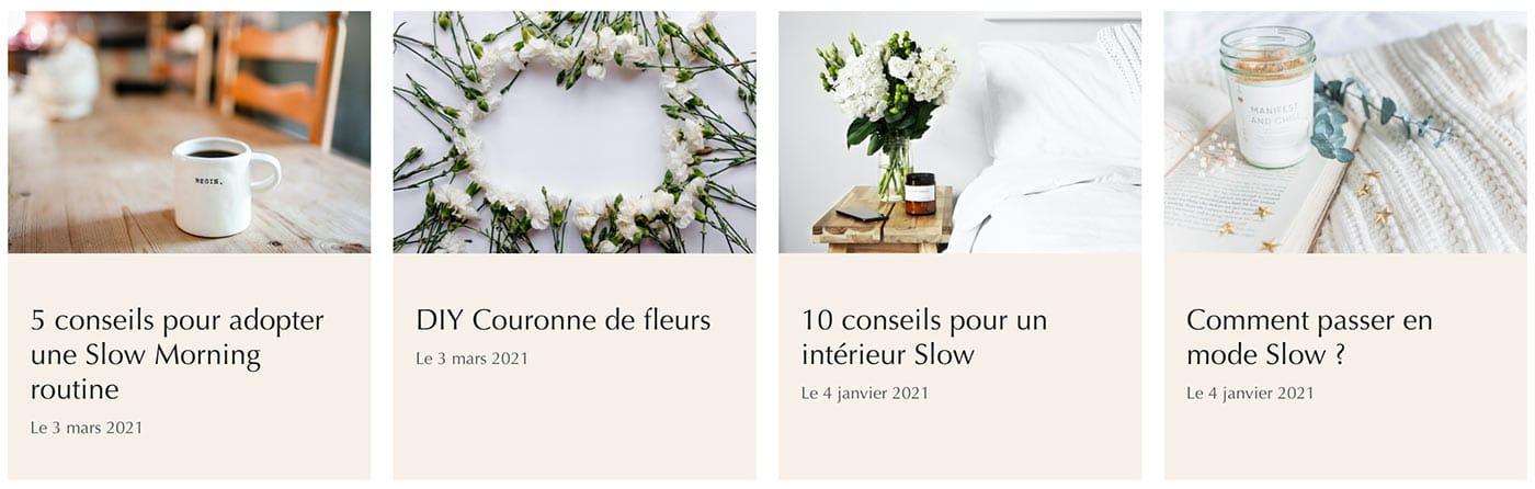 Pour un e-commerce décoration, des articles de blog sur la thématique constitueront un gros avantage pour valoriser les produits (exemple extrait de Samana Slow Living).